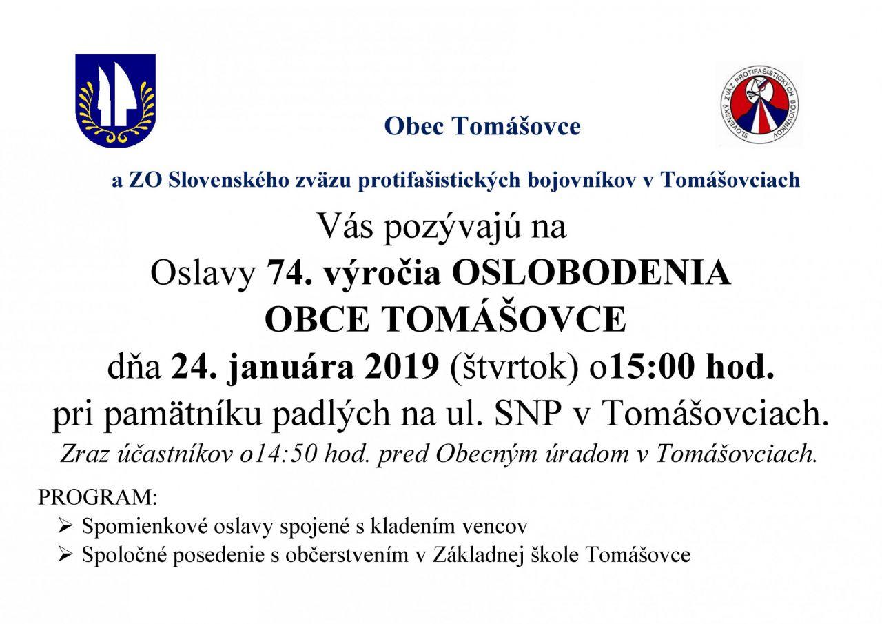 74. výročie Oslobodenia obce Tomášovce